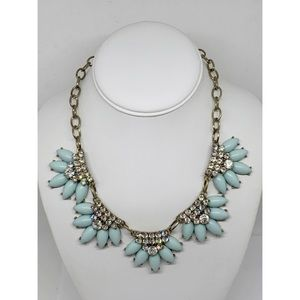 J. Crew Light Blue & Rhinestone Necklace